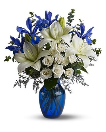 Blue And Teal Arrangements And Gifts Available From Your Local     Quick view Blue Horizons Flower Arrangement