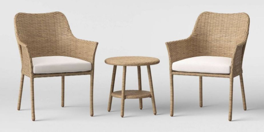 3pc Faux Bamboo Patio Chair Set