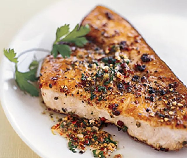 Pan Roasted Swordfish Steaks With Mixed Peppercorn Butter Recipe