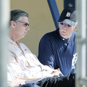 Dave Dombrowski alongside  Detroit Tigers' manager  Jim Leyland .........
