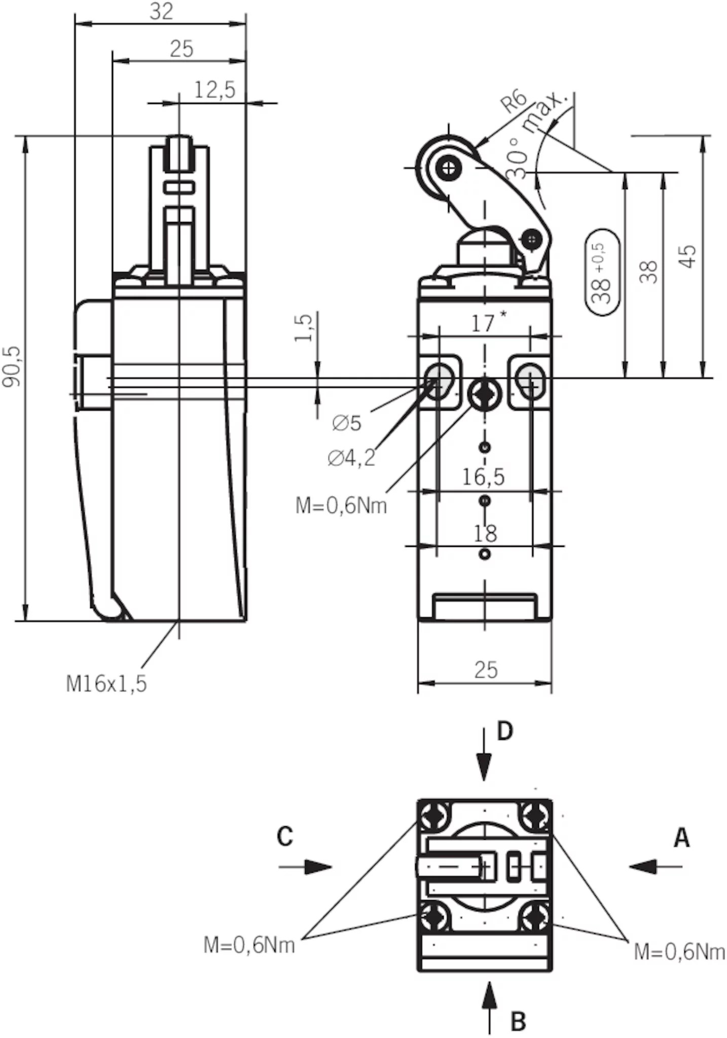 Nm11kba Mc Safety Switch Nm Kb With Roller Arm Short