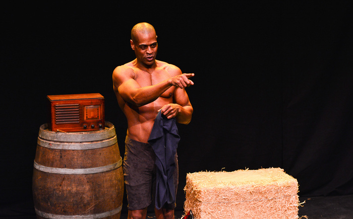 "Tommie J. Moore in Theater for the New City's production of ""Dare to Be Black: The Jack Johnson Story."" Photo by Tanja Marie"