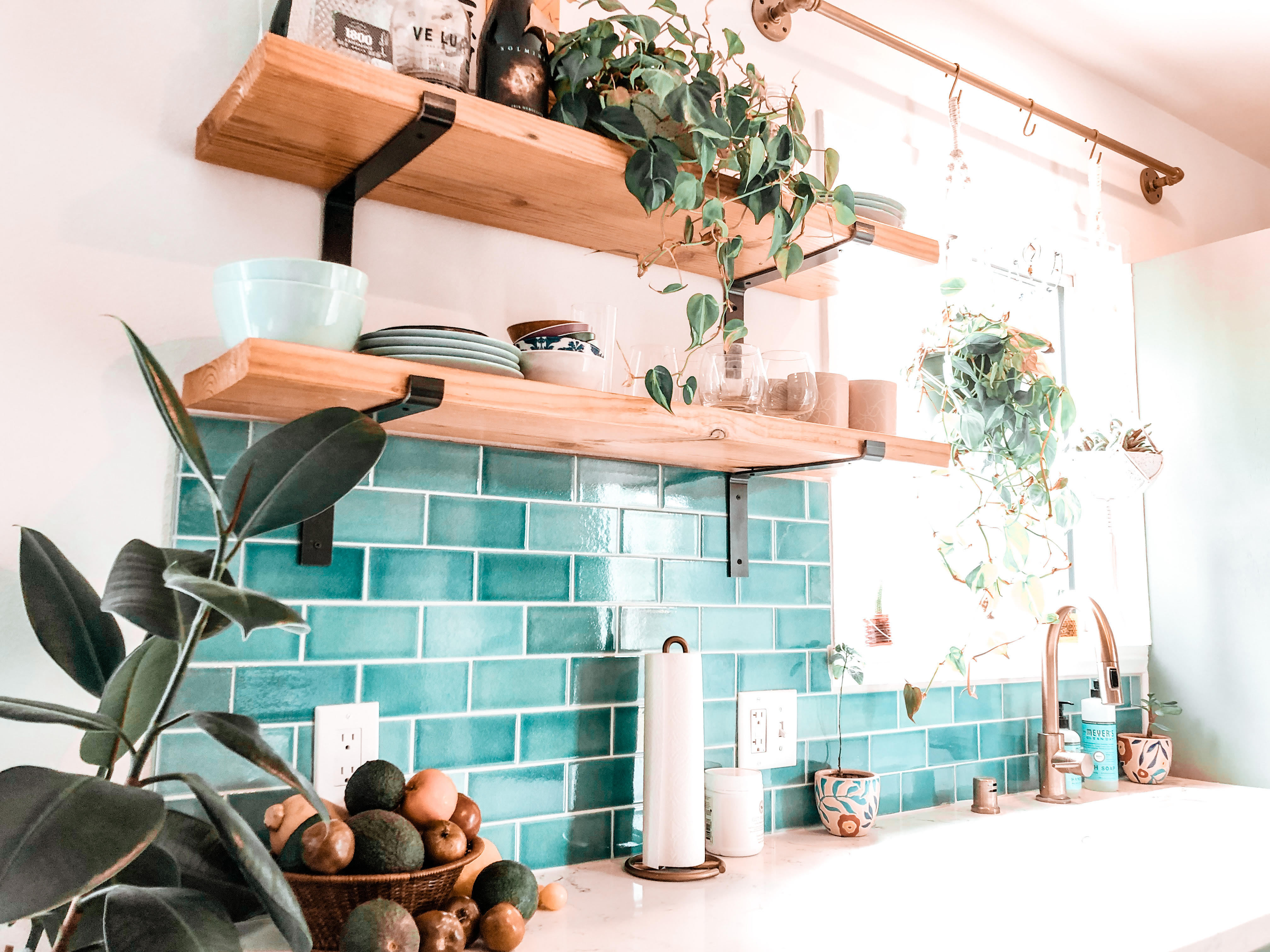 diy cartel blue subway tile kitchen