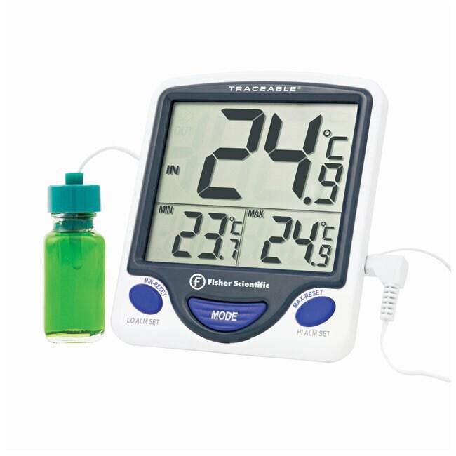 fisherbrand thermometre pour congelateur refrigerateur jumbo avec sonde scellee dans un flacon