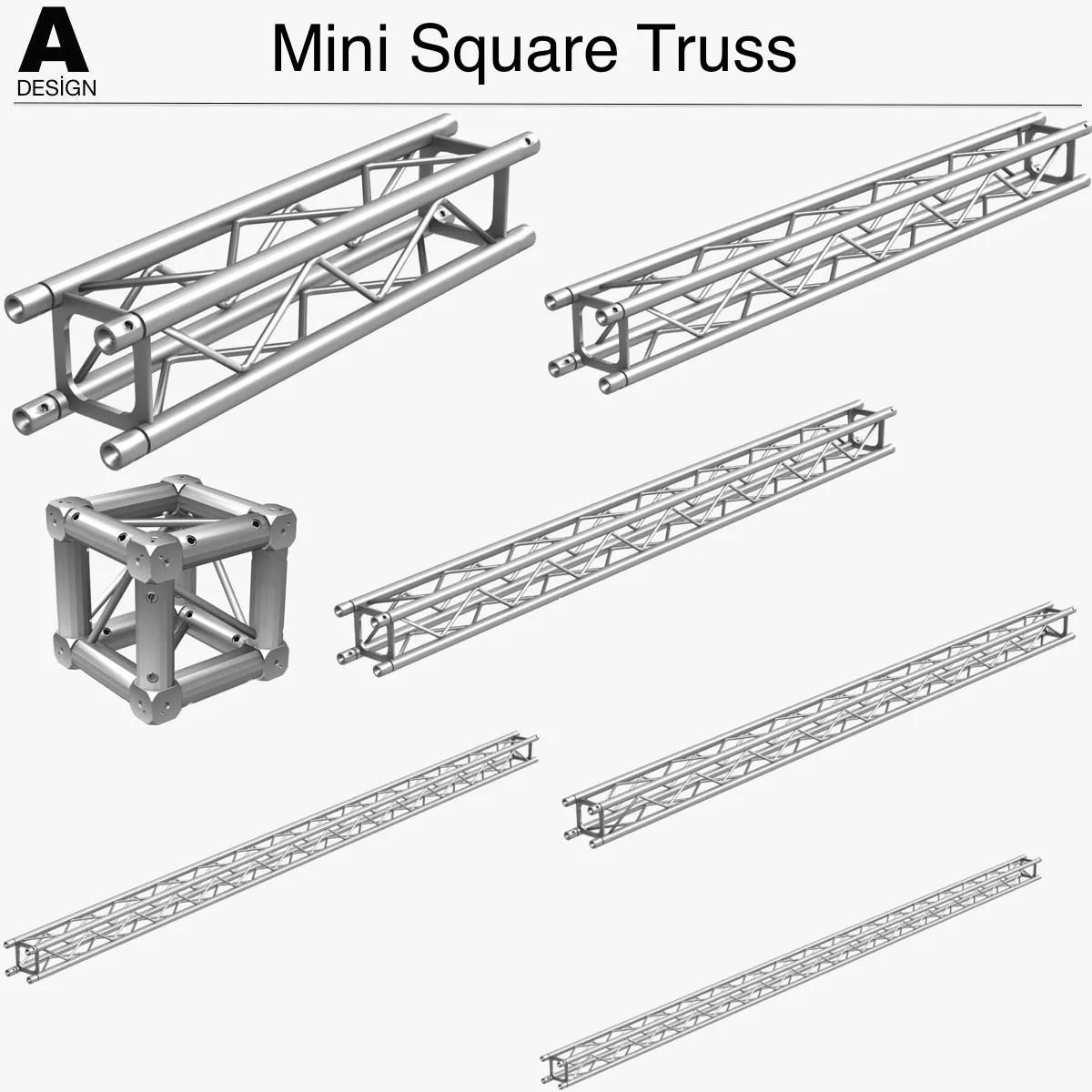 Mini Square Truss Collection 7 Modular Pieces 3d Model