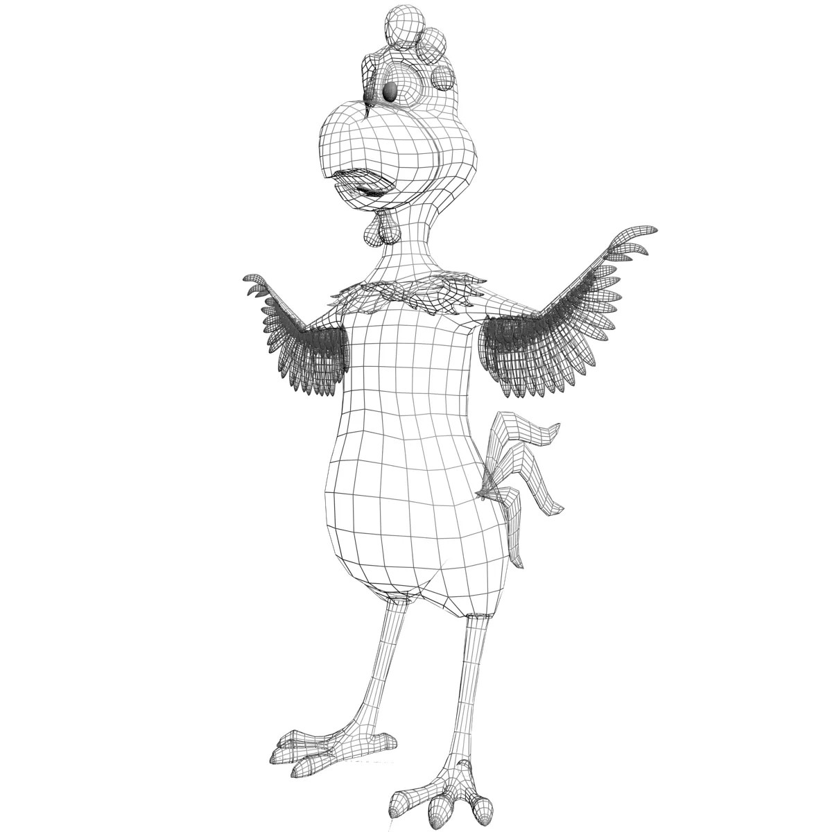 Cartoon Chicken Rigged 3d Model