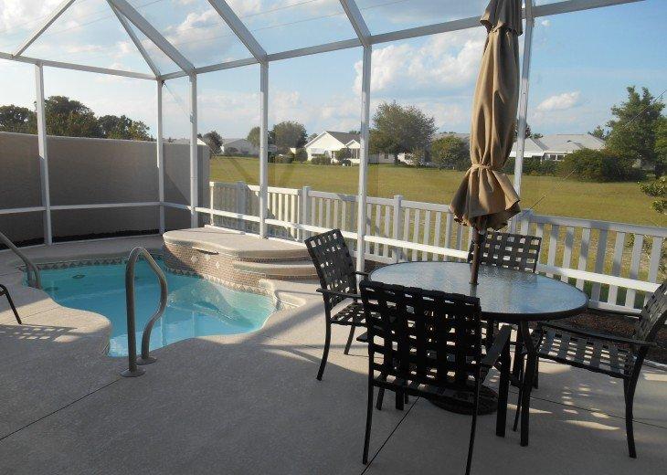 courtyard villa with solar heated pool