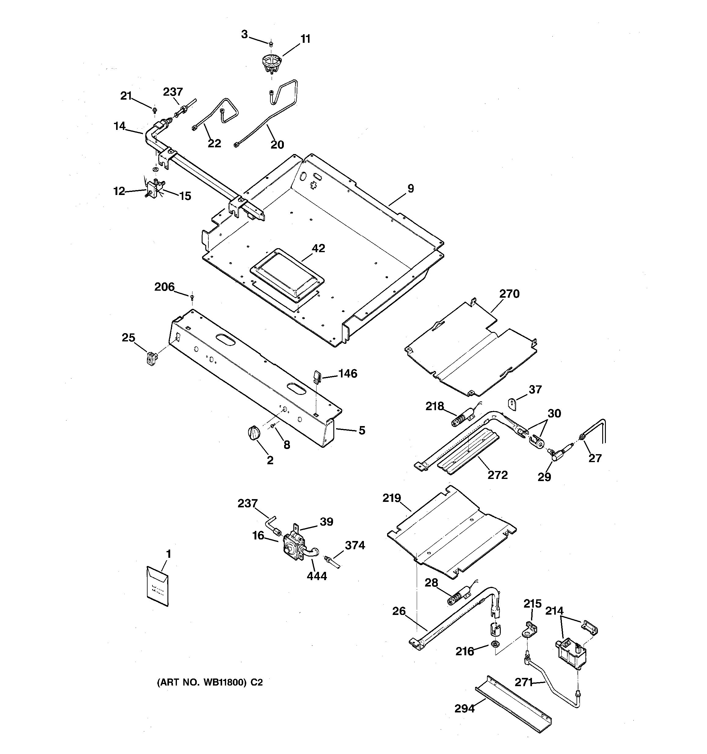 Assembly View For Gas Burner Parts