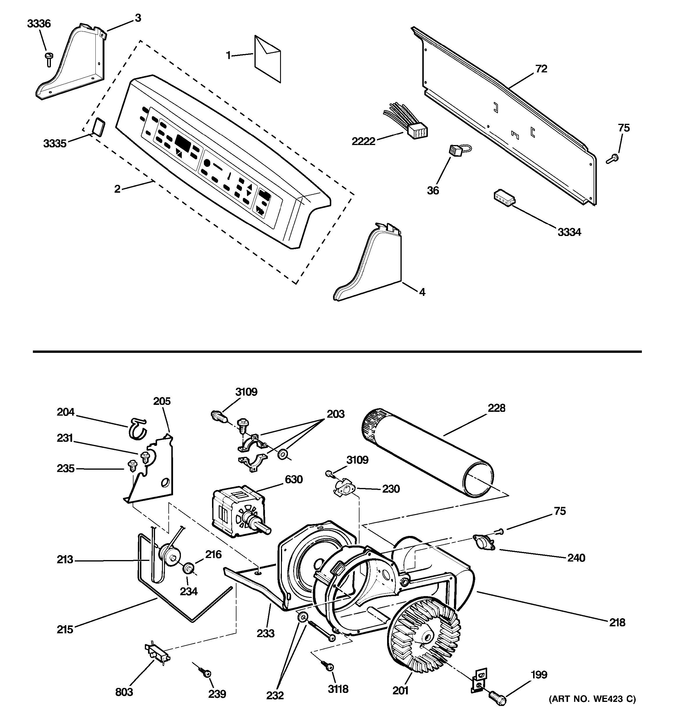 Assembly View For Backsplash Blower Amp Motor