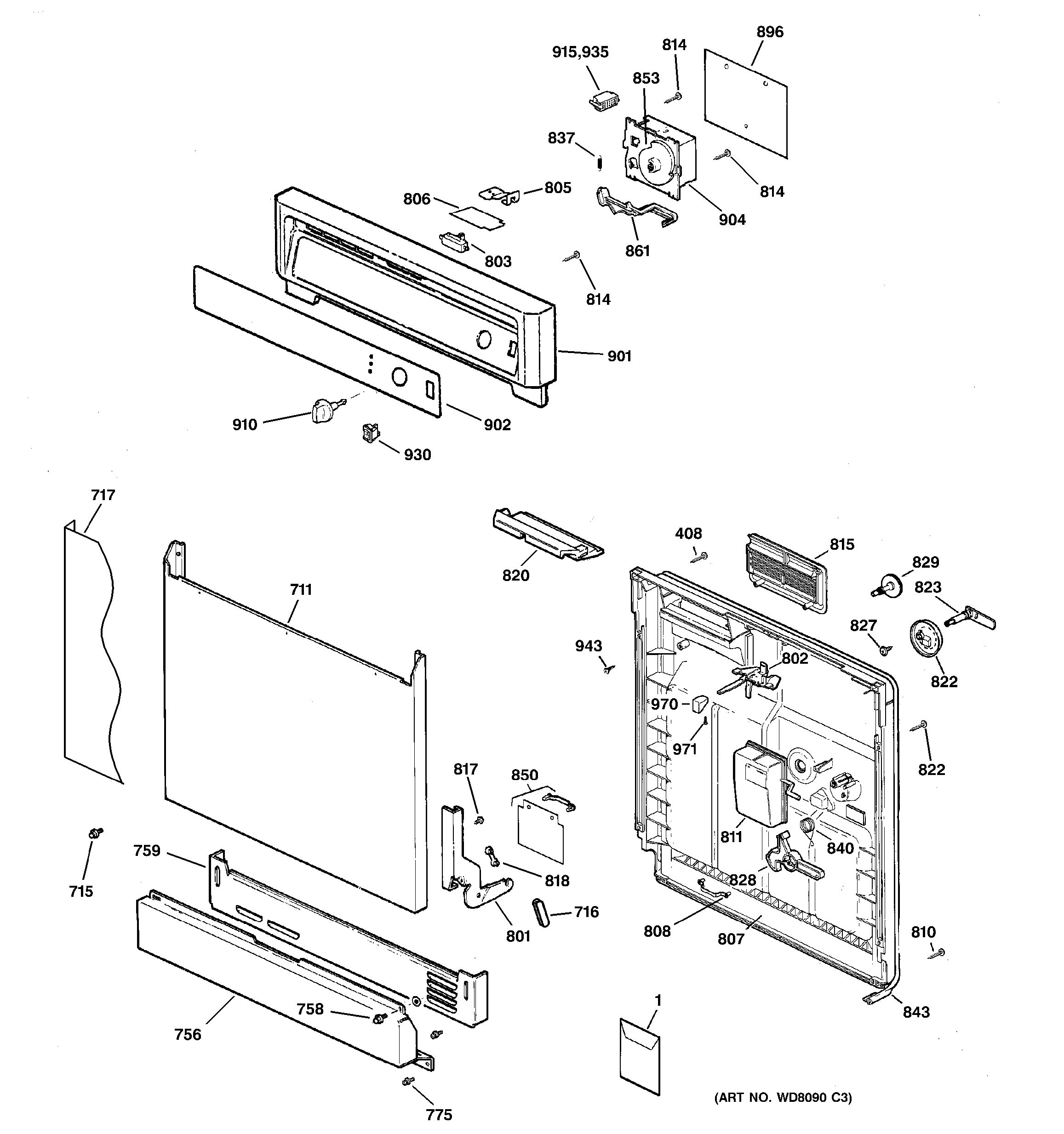 Assembly View For Escutcheon Amp Door Assembly