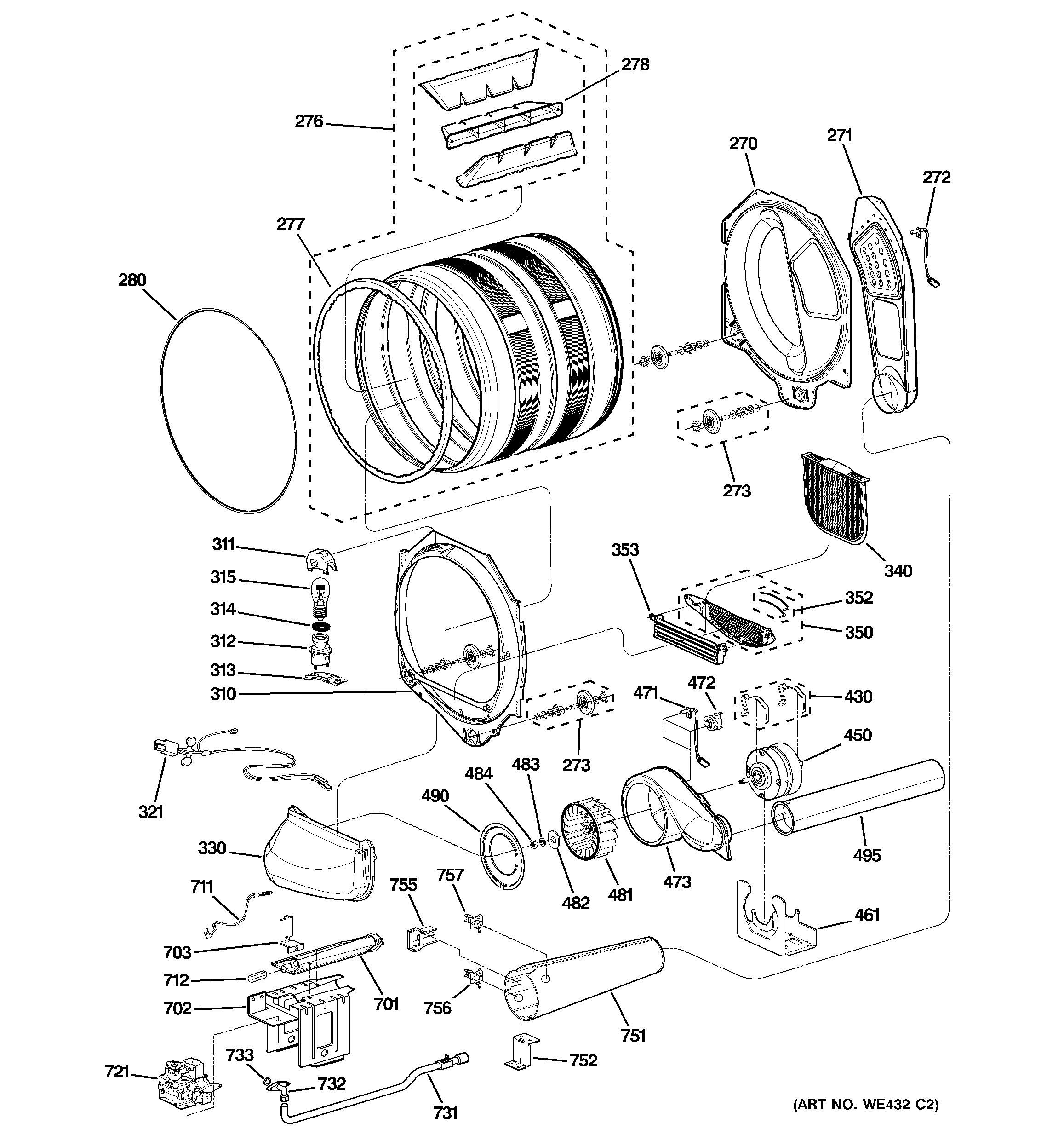 Assembly View For Drum Blower Amp Motor