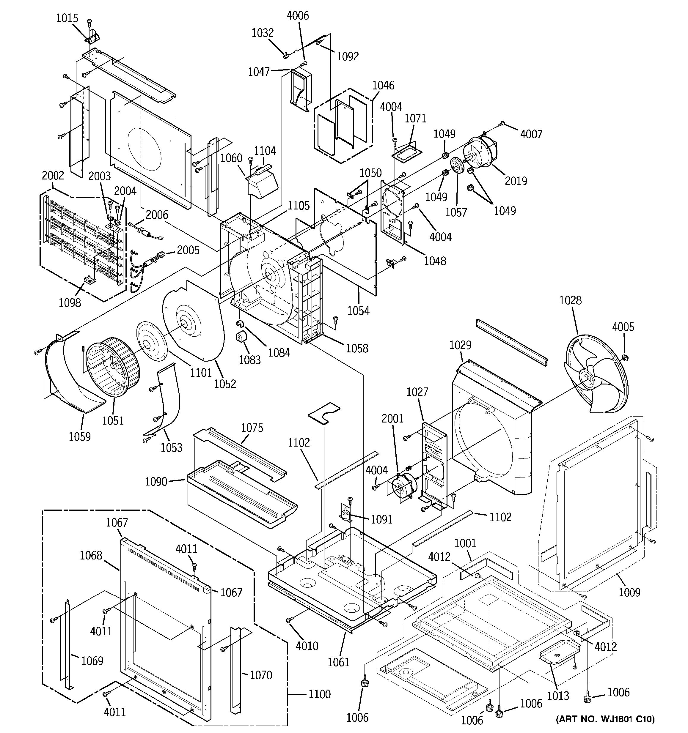 Assembly View For Motor Heater Amp Base Pan Parts