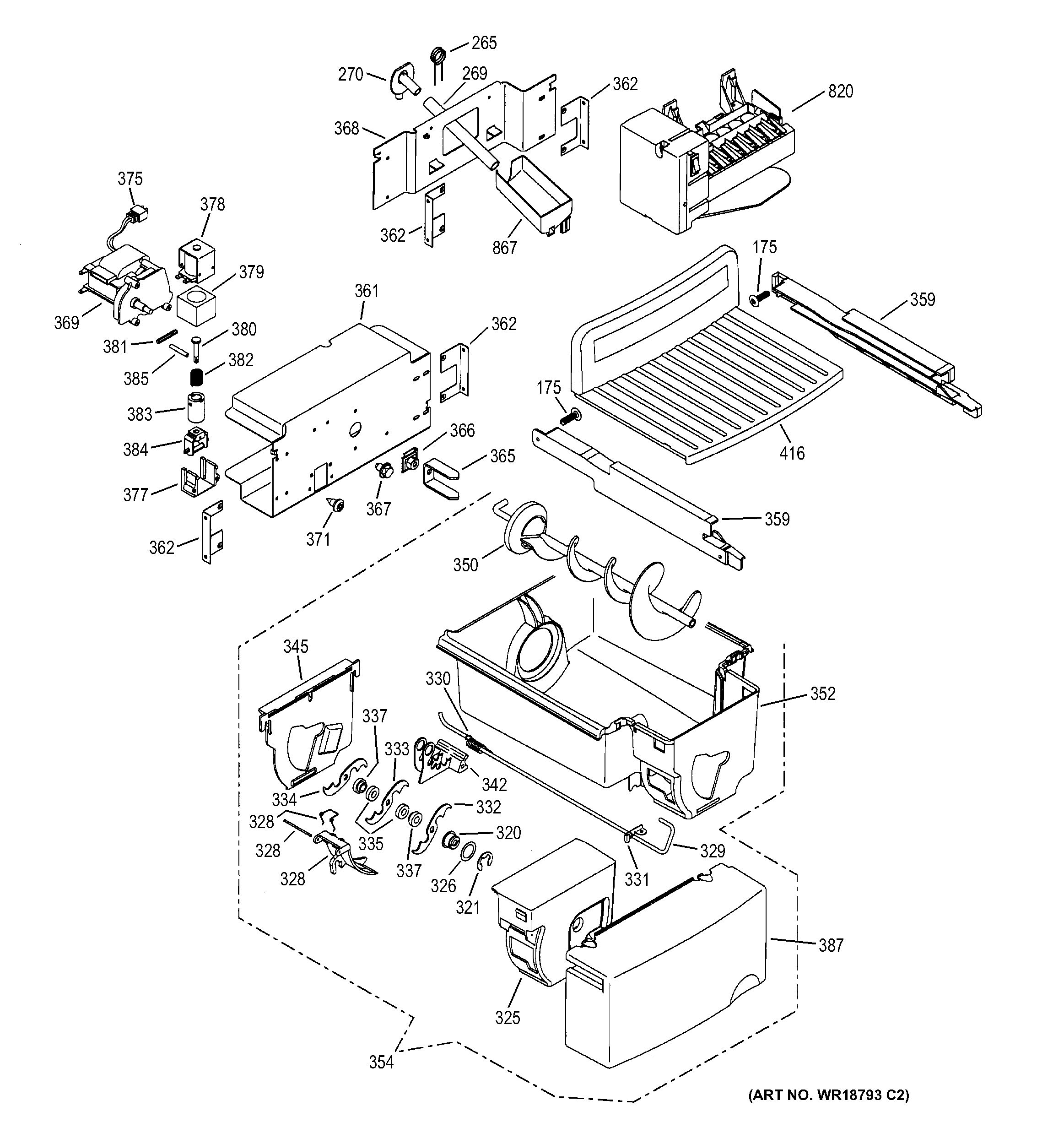 Assembly View For Ice Maker Amp Dispenser