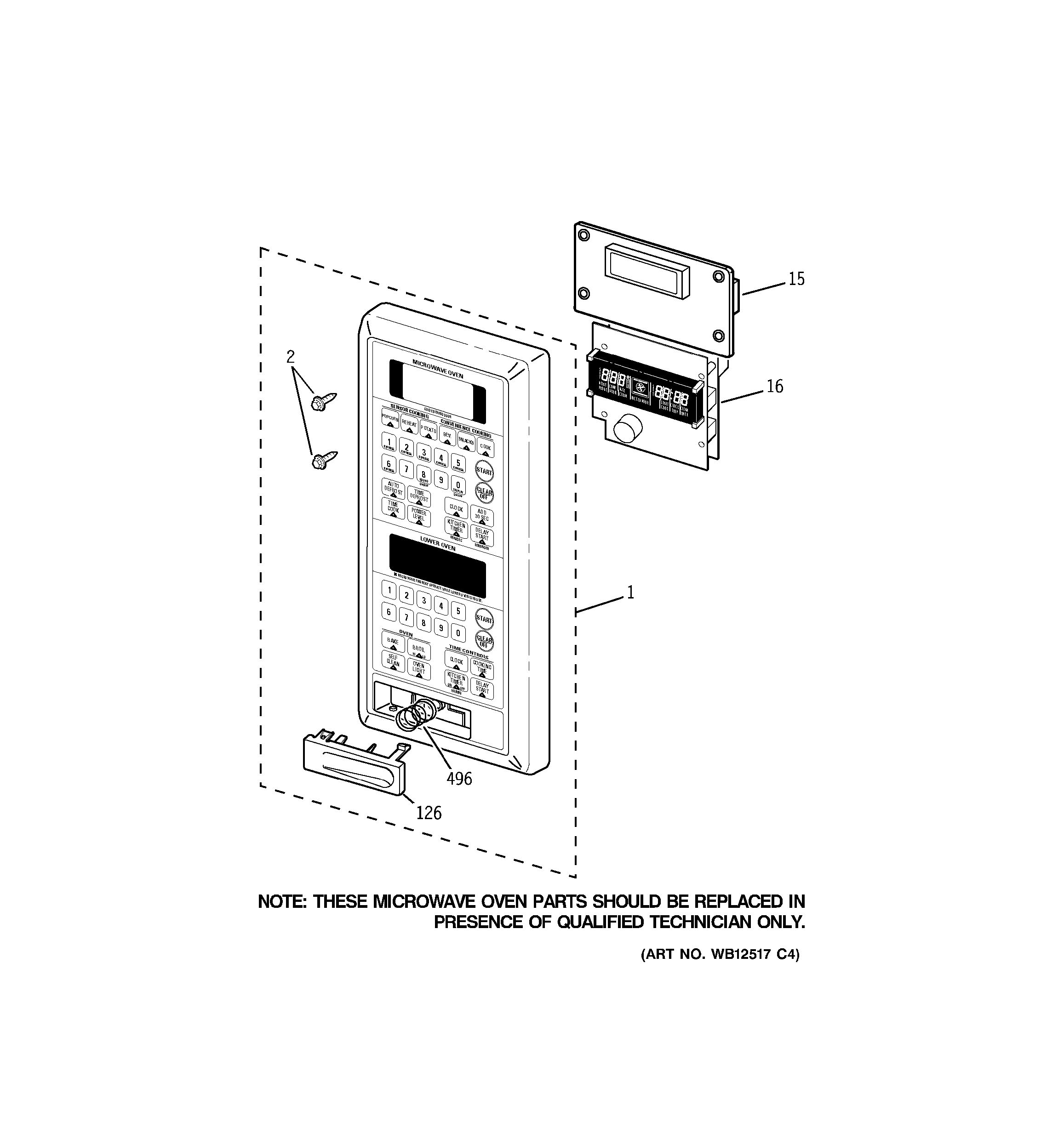 Assembly View For Microwave Control Panel