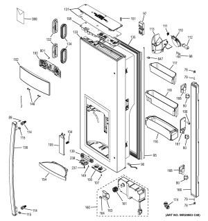 Assembly View for DISPENSER DOOR | GFE26GGHBBB
