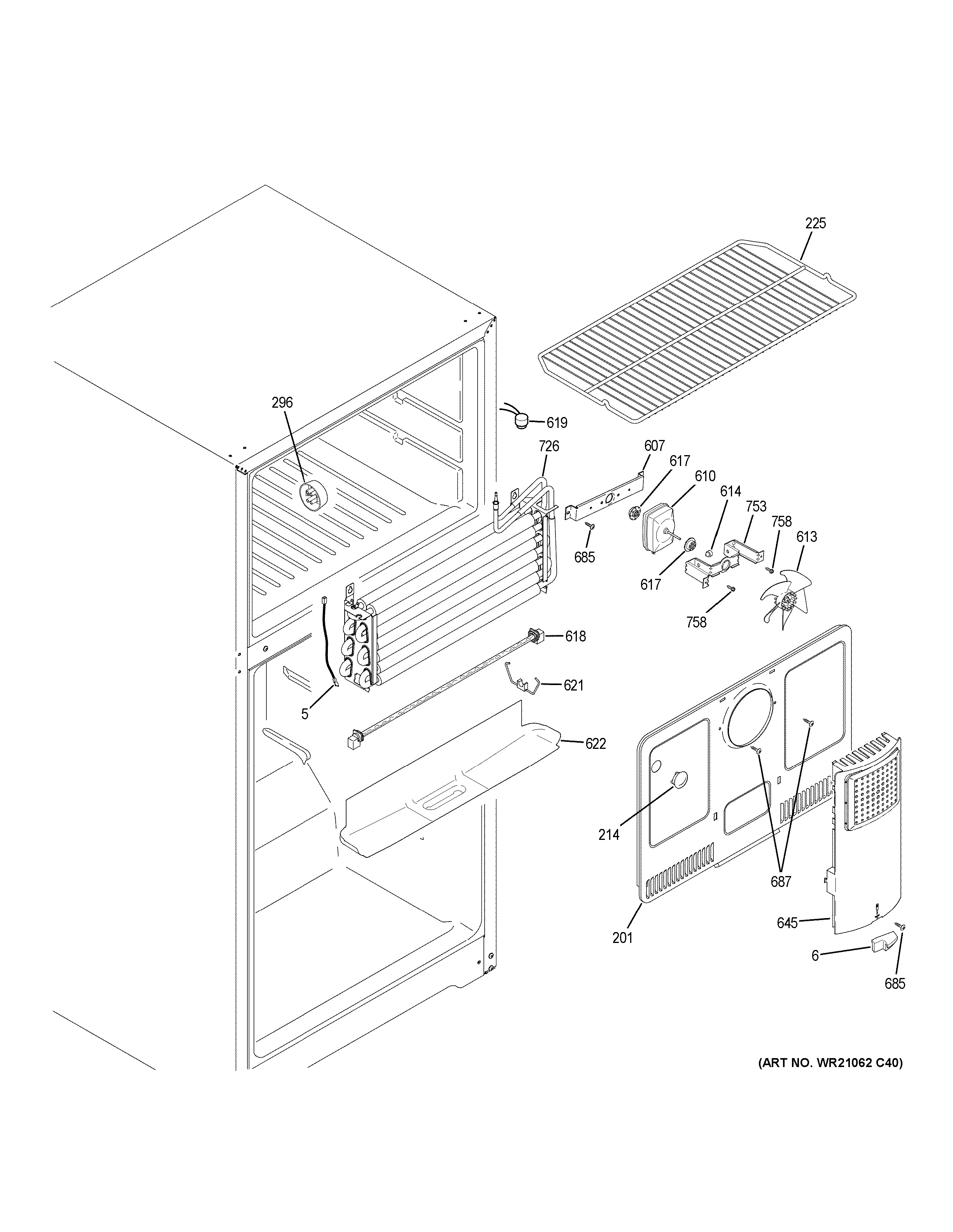 Assembly View For Freezer Section