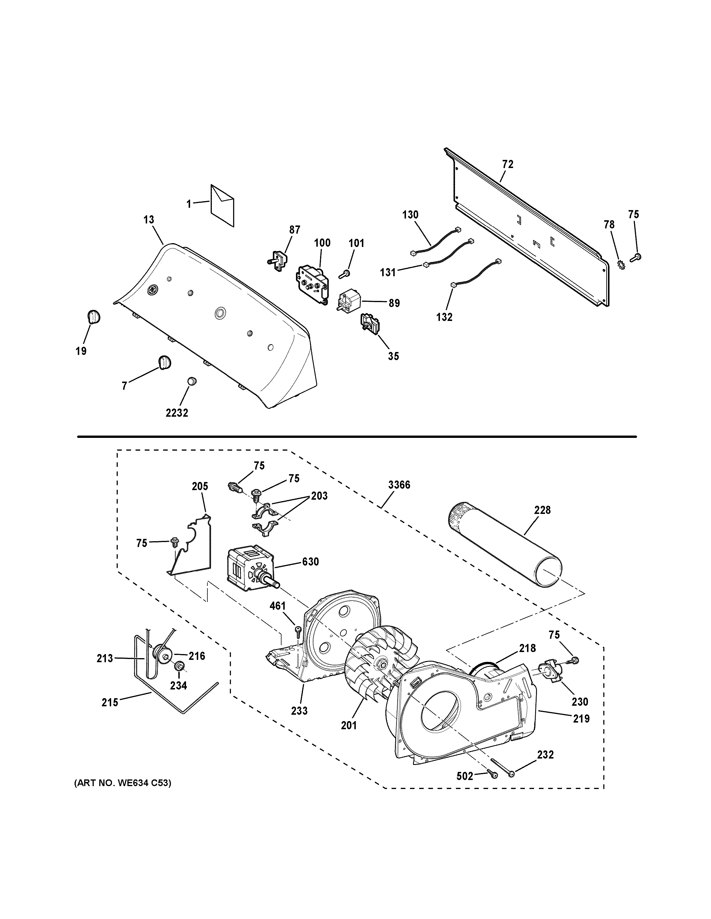Assembly View For Backsplash Blower Amp Motor Assembly