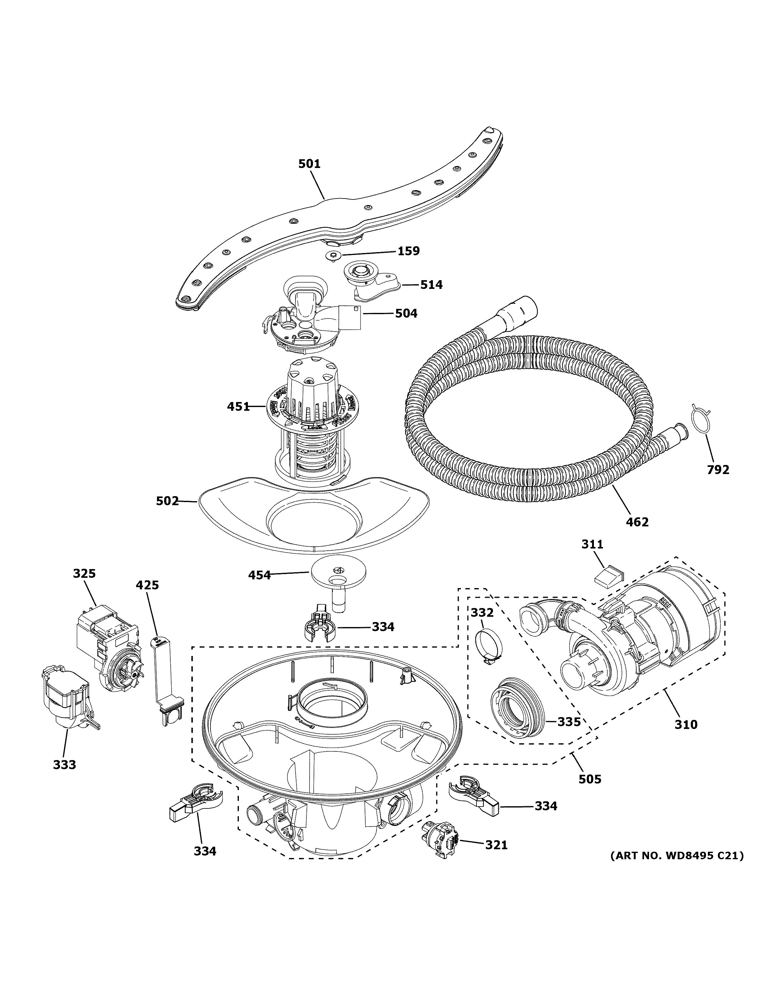 Assembly View For Motor Sump Amp Filter Assembly