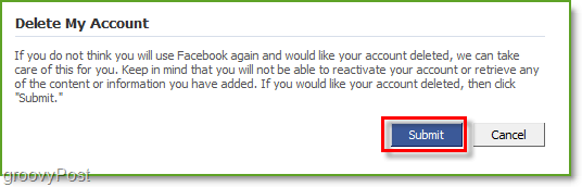 Facebook account deletion confirmation