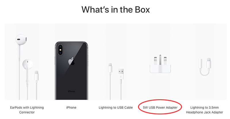 Crazy-fast phone comes bundled with a crazy-slow charger. (Image source: Apple website.)