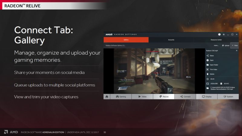 Radeon ReLive comes with three tabs: Gallery, Accounts, and Resource Center.