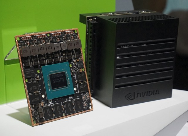 NVIDIA's Jetson Xavier on the left, and the Jetson Xavier devkit on the right,