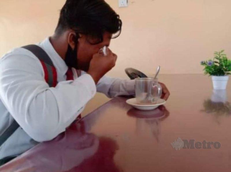 MUHAMMAD Haikal Iskandar bersedih dengan kehilangan arwah bapa. FOTO Tular