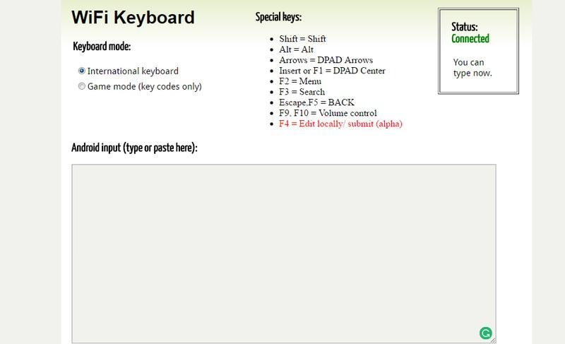 wifi keyboard web interface