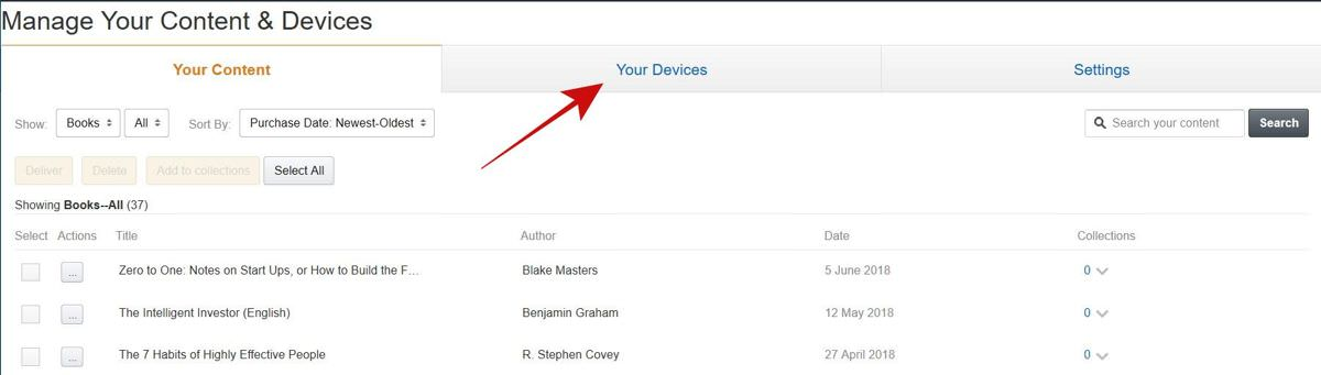 Select the Your Devices tab