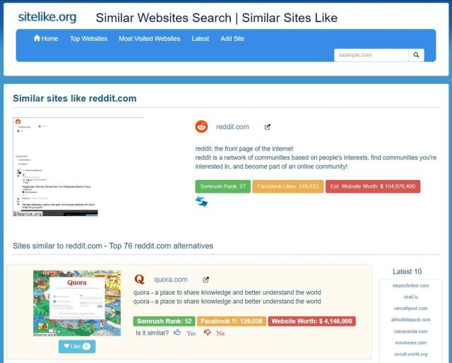 sitelike.org helps find alternative or similar websites