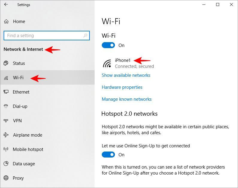 Проверьте настройки Wi-Fi в Windows 10