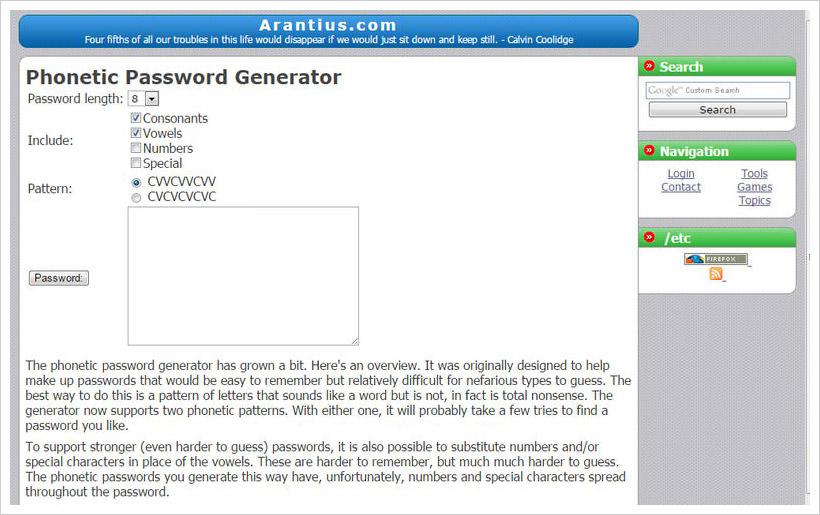 phonetic password generator
