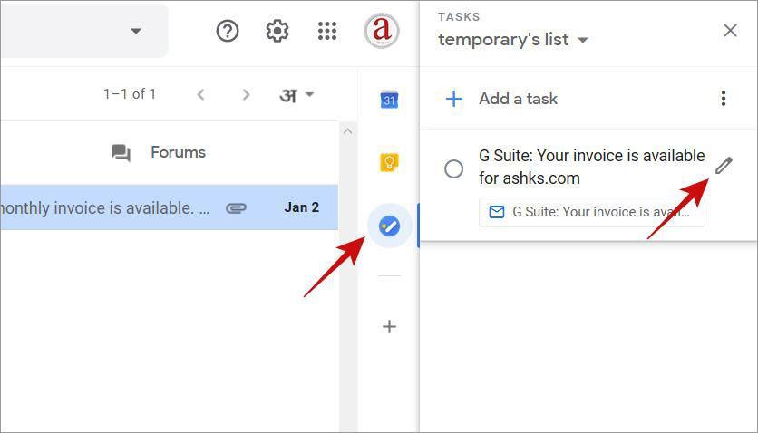 Редактировать задачу в Google Tasks внутри Gmail