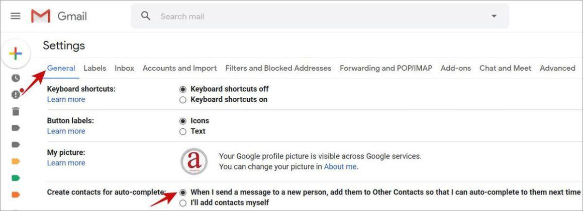 Включите Gmail для автоматического создания контактов