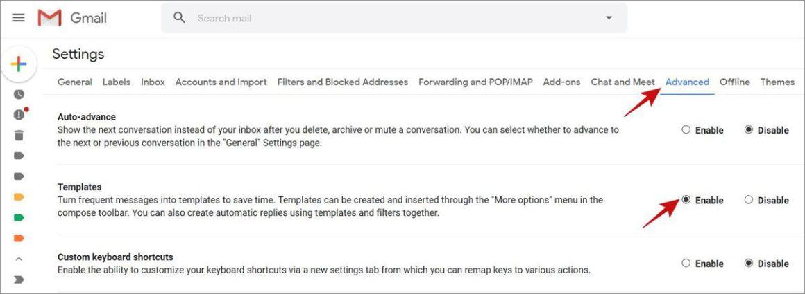 Включить шаблоны в Gmail
