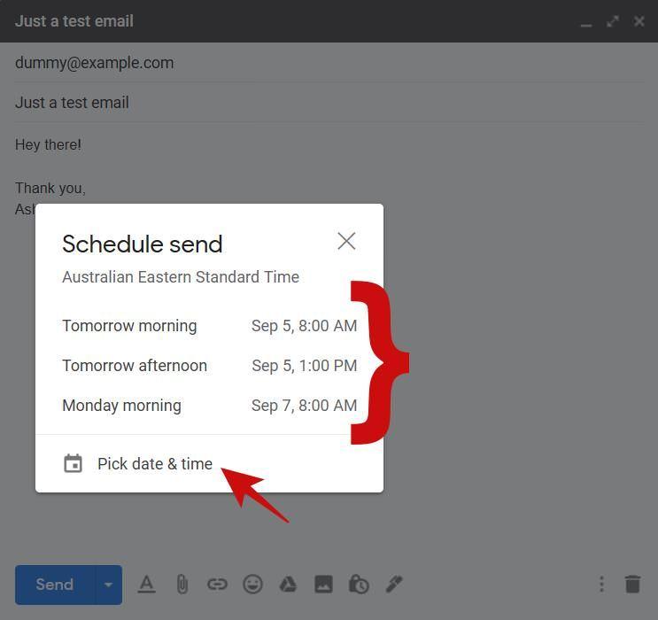 Запланируйте электронное письмо на потом в Gmail