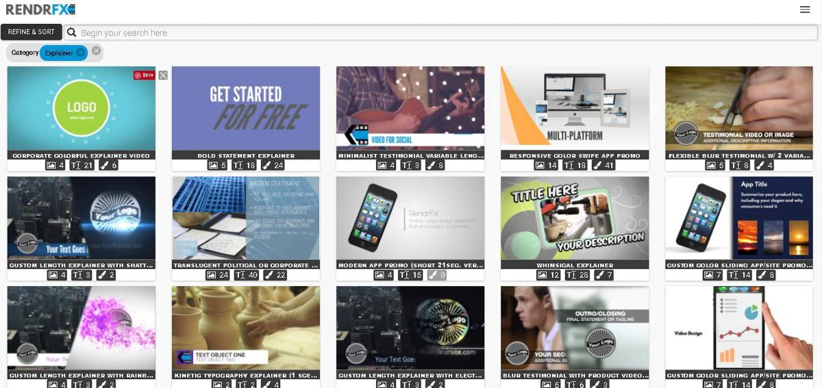 Numerous video templates of Rendrfx