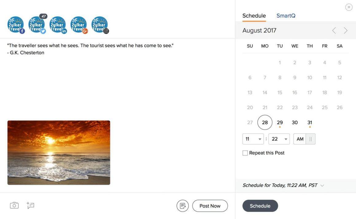 Панель управления расписанием публикаций Zoho Social