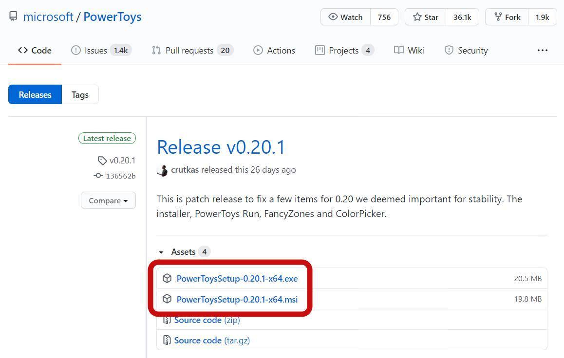 Загрузите exe или msi файл PowerToys