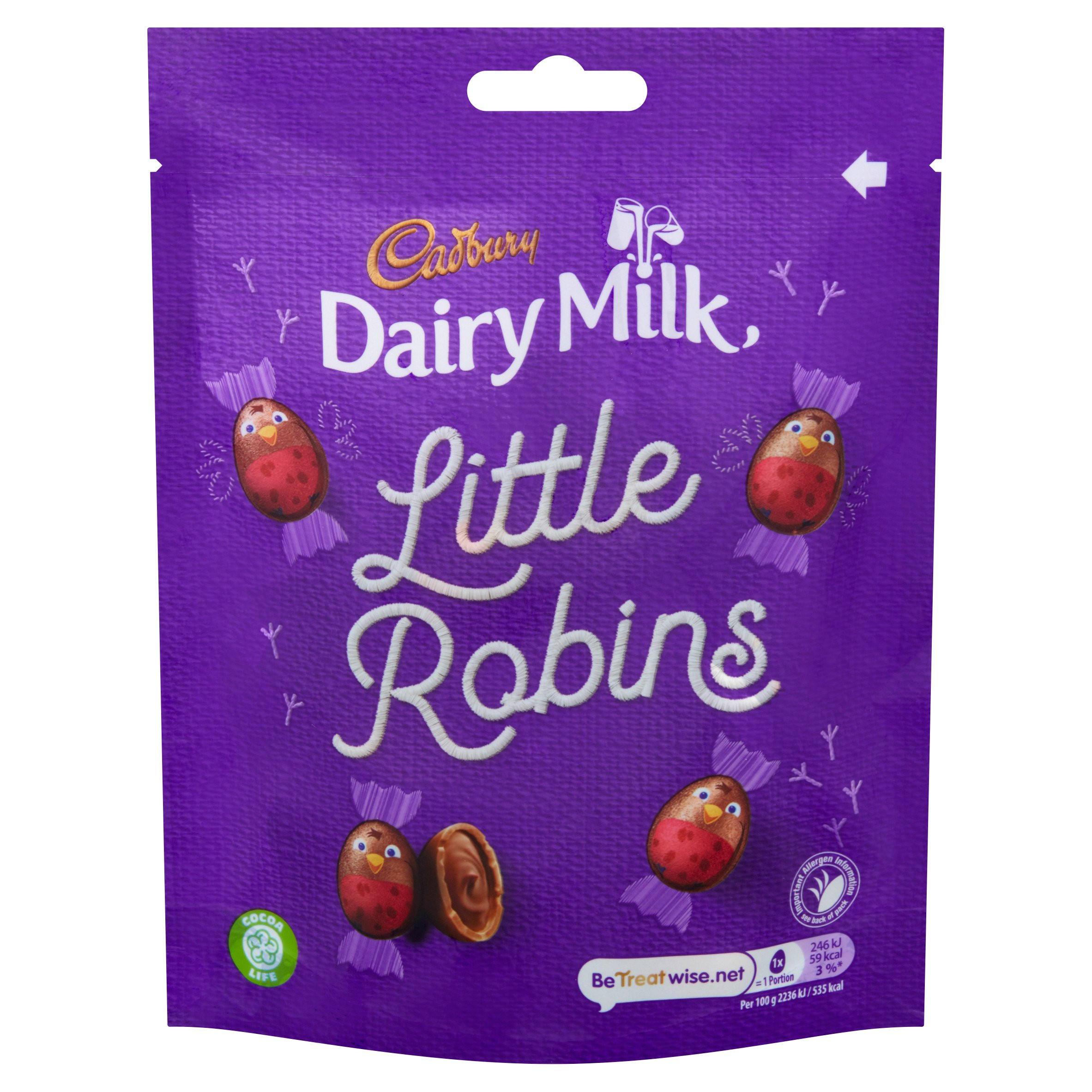 Cadbury Dairy Milk Little Robins Bag 88g   Single Chocolate Bars & Bags    Iceland Foods