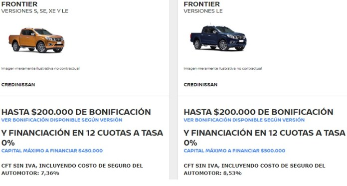 Nissan, with bonuses for the Frontier.