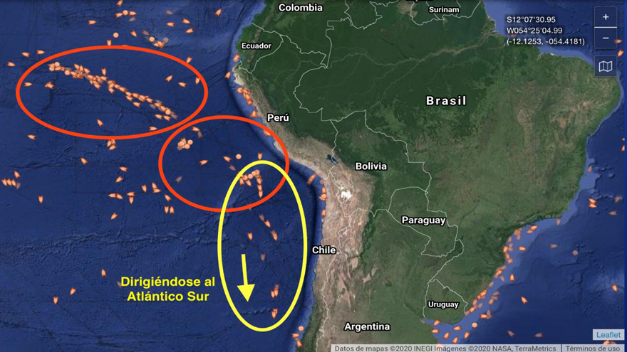 El desplazamiento que muestra la flota en las últimas horas -imagen gentileza de Milko Schvartzman-.
