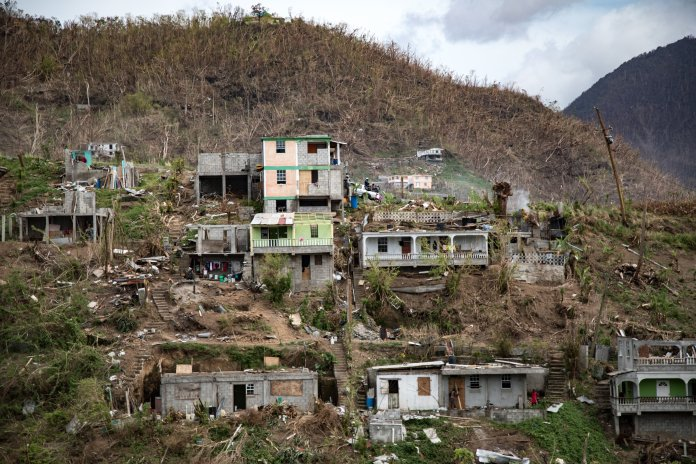 Destruction on Dominica after hurricane