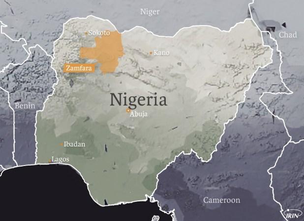 Map of Nigeria showing major cities (Abuja, Ibadan, Lagos, Sokoto, Kano) and the Zamfara region