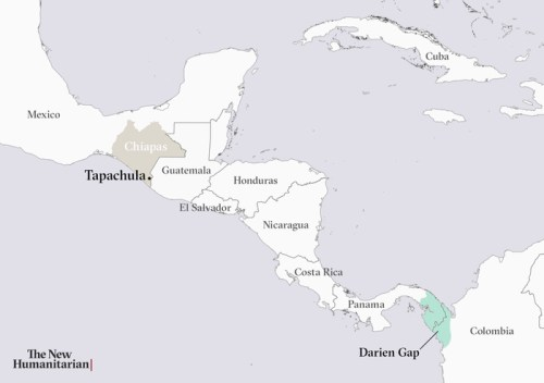 A map showing Central America, Tapachula, Mexico, and the Darien Gap.