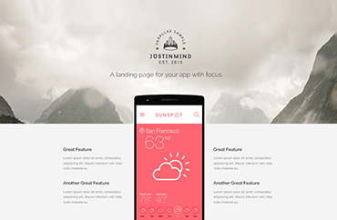 Wireframes and prototypes for web   mobile   Justinmind Examples Parallax Landing Page