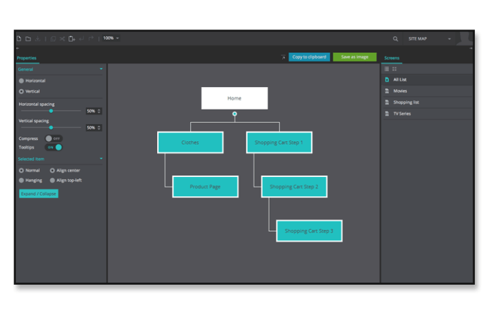 Building web and mobile app wireframes  view a Sitemap sitemap tab interactive wireframes