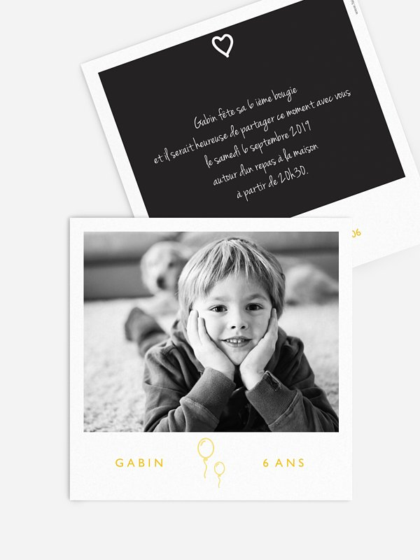 invitation anniversaire enfant polaroid