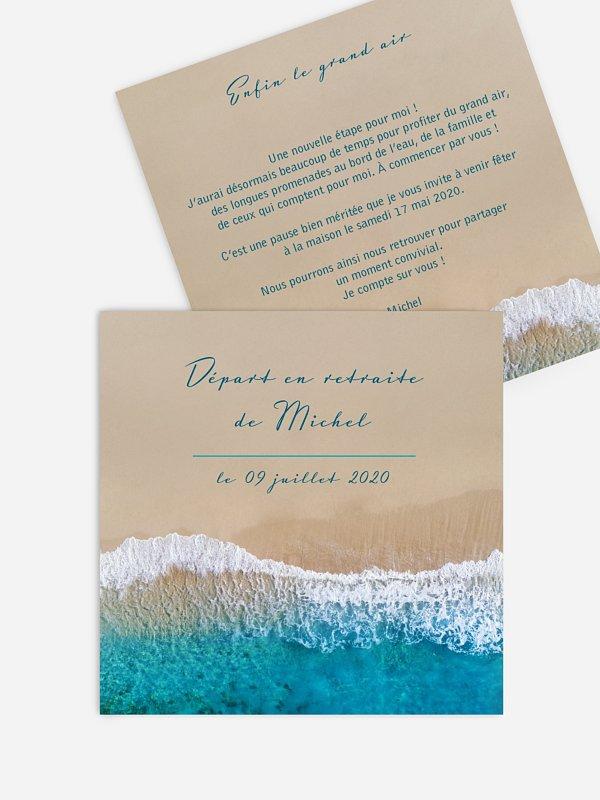 carte invitation depart retraite ecume de mer