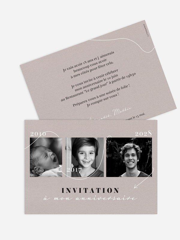 Invitation Anniversaire 18 Au Fil Du Temps